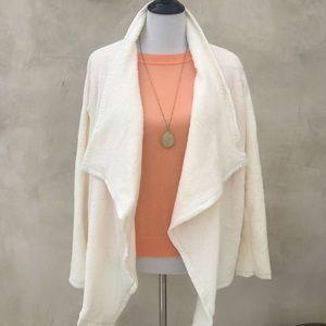 Fleece Wrap Coat Ivory NWOT
